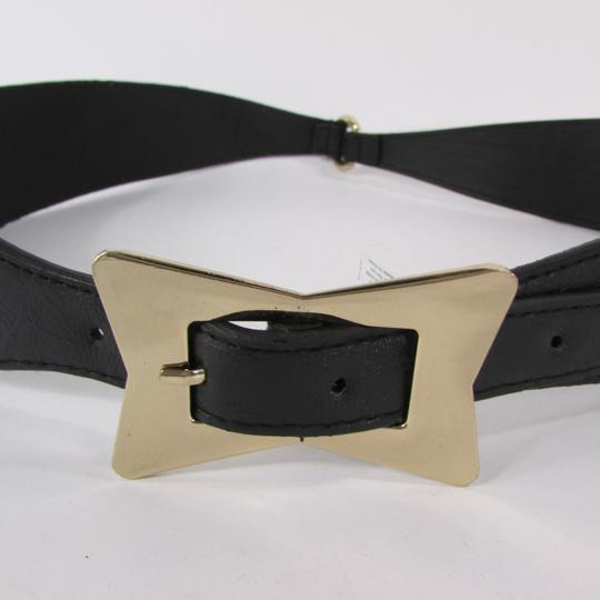Alwaystyle4you Black Women Faux Leather Western Belt Gold Bow Square Buckle S M