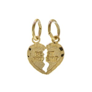 Avital & Co Jewelry Best Friends Split Heart Charm Pendant 14K Yellow Gold