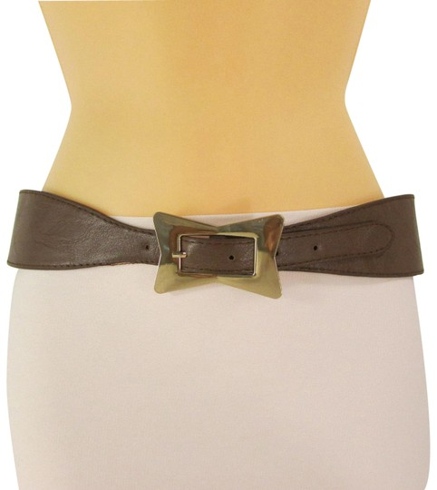 Preload https://img-static.tradesy.com/item/23476620/brown-women-faux-leather-western-gold-bow-square-buckle-s-m-belt-0-1-540-540.jpg