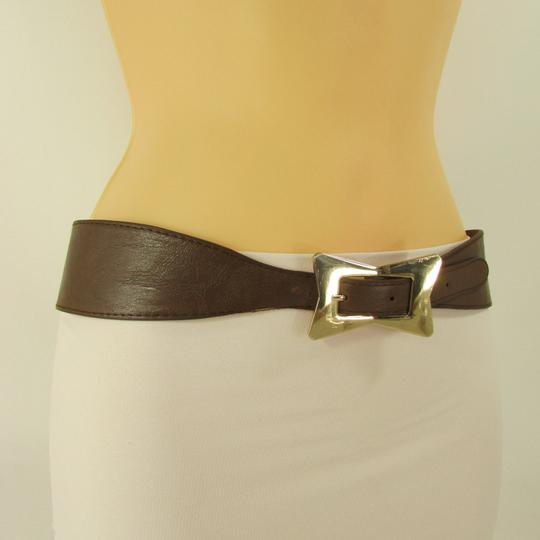 Alwaystyle4you Brown Women Faux Leather Western Belt Gold Bow Square Buckle S M
