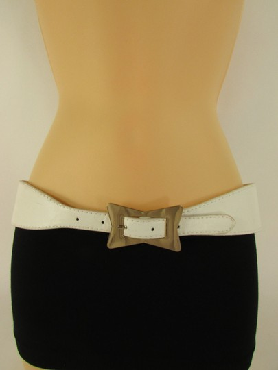 Alwaystyle4you White Women Faux Leather Western Belt Gold Bow Square Buckle S M
