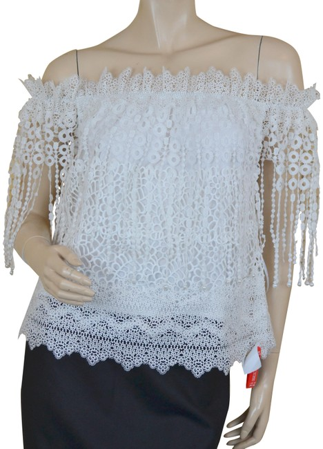 Elie Tahari Off Shoulder Romantic Flirty Pearl Crochet Top White