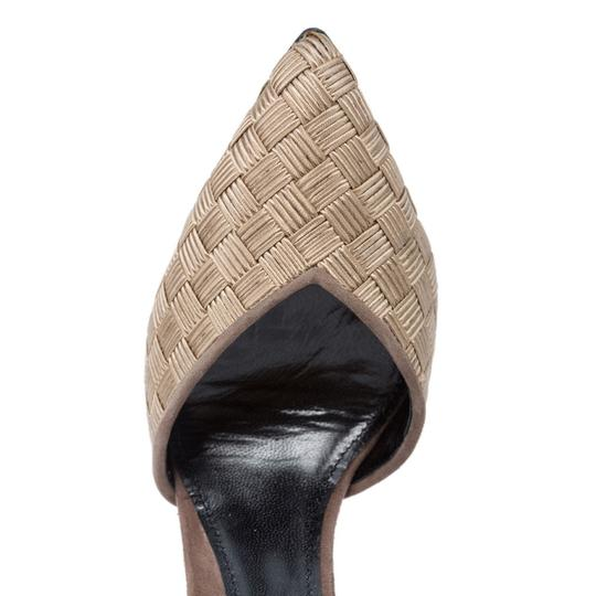 Giorgio Armani D'orsay Pointed Toe High-end Golden Beige Pumps
