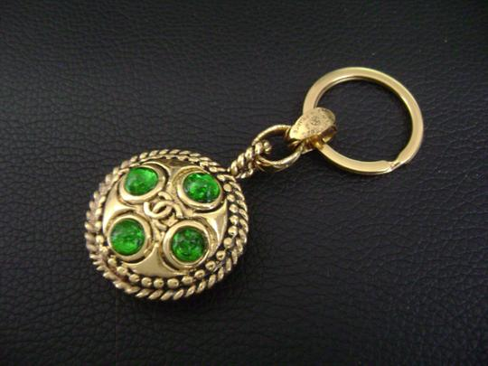 Chanel Chanel CC logo green stone double sided key holder & bag charm