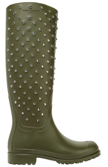 Preload https://img-static.tradesy.com/item/23476799/saint-laurent-black-women-s-green-festival-embellished-rubber-rain-bootsbooties-size-us-6-regular-m-0-0-540-540.jpg