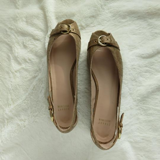 Stuart Weitzman Metallic Tan Silk Cork Fabric Flats