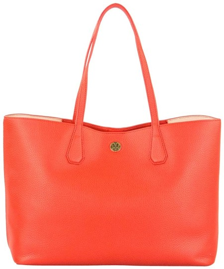 Tory Burch Summer Leather Sale Carryall Tote in Samba Apricot