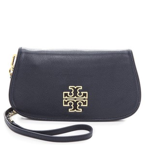 Tory Burch Logo Tb Chain Navy Clutch
