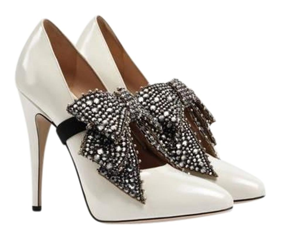 54d082ff6a84 Gucci Crystal Bow Removable Leather Pumps Size EU 37.5 (Approx. US ...