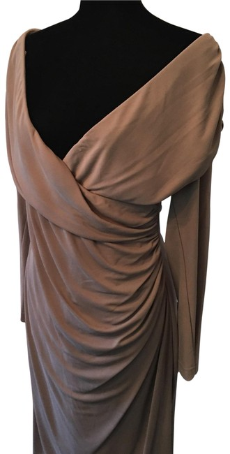 St. John Beige Off Shoulder Drape Mid-length Cocktail Dress Size 10 (M) St. John Beige Off Shoulder Drape Mid-length Cocktail Dress Size 10 (M) Image 1