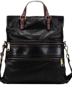 Fossil Leather Fold Over Black Messenger Bag