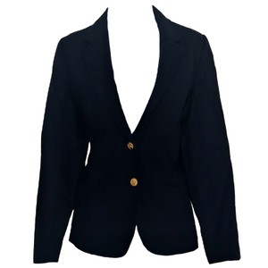 Larry Levine Vintage 80s Navy Anchors Fitted blue Blazer