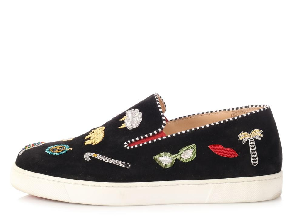 ad0107b14c85 Christian Louboutin Patch Embroidered Tennies Lb.p0326.16 Sneakers Black  Flats Image 0 ...