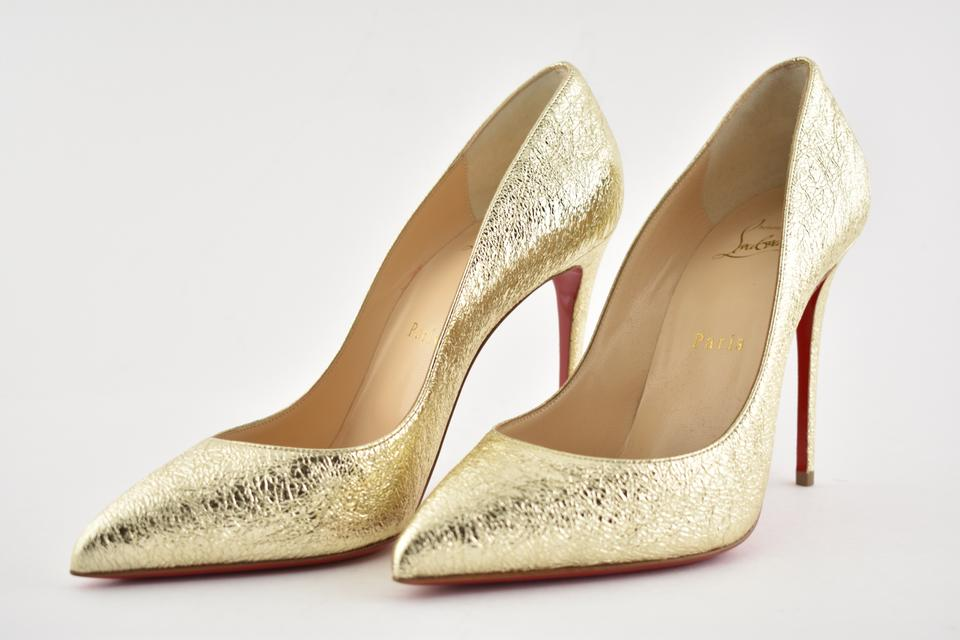 new styles 7f0ba 4b2ed Christian Louboutin Gold Pigalle Follies 100 Platine Metallic Crinkled  Leather Classic Heel Pumps Size EU 35.5 (Approx. US 5.5) Regular (M, B)