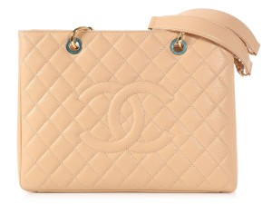 Chanel Cc Gst Ch.p0425.02 Gold Hardware Ghw Tote in Beige