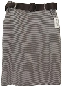 Juliana Collezione Pencil Women's Skirt Taupe & Brown Accents