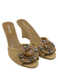 Prada Wedges Slides Open Toe Brown Pumps