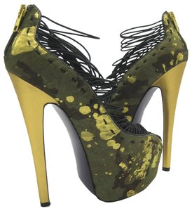 London Trash Cobalt Stiletto Pump Camo Platforms