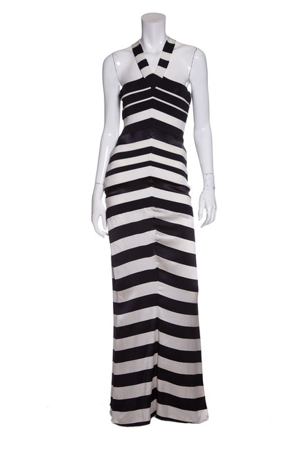 Item - Navy & White Striped Knit Gown Long Casual Maxi Dress Size 10 (M)