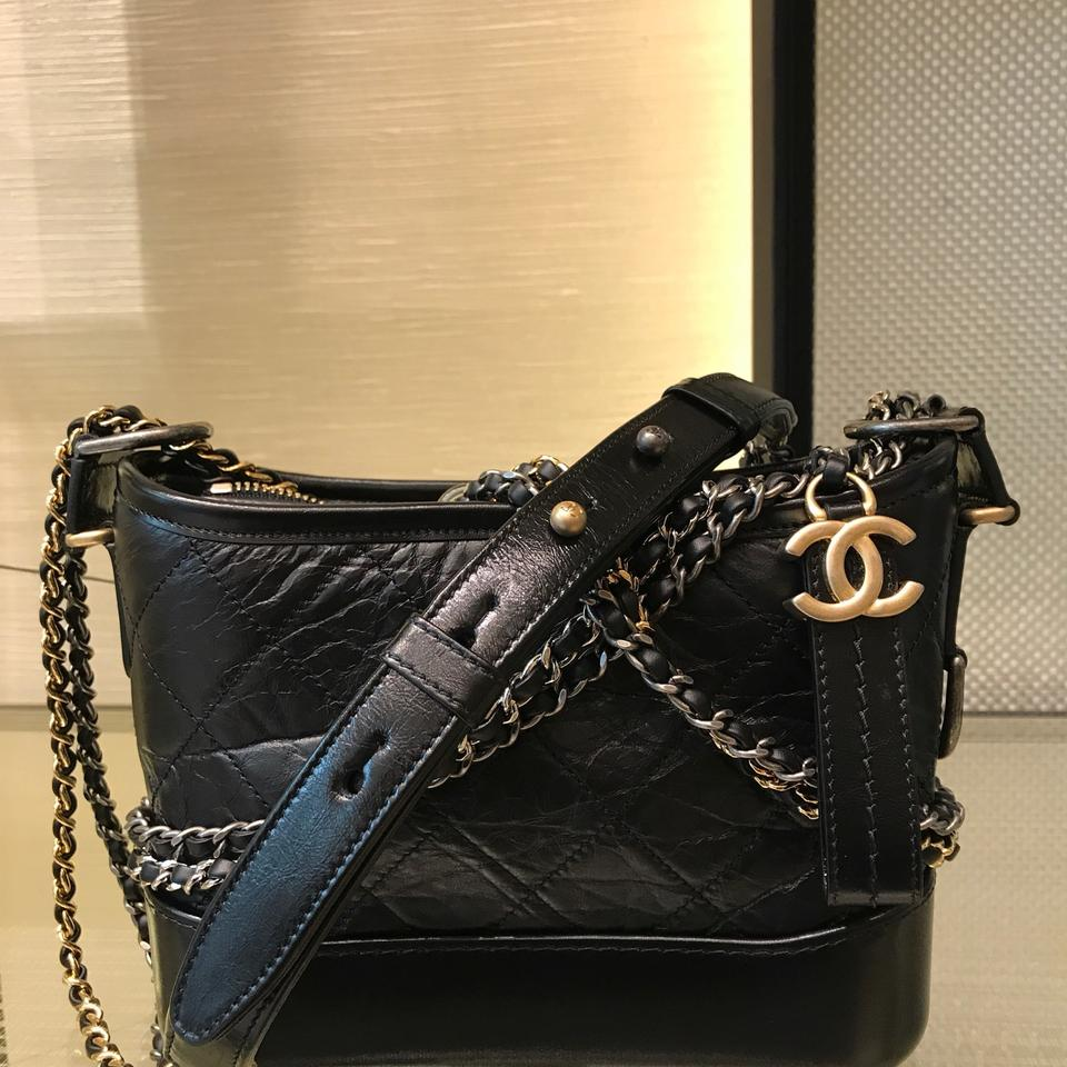 f06369a776af Chanel Gabrielle Hobo Aged Calfskin Quilted Small Black Leather Hobo Bag -  Tradesy