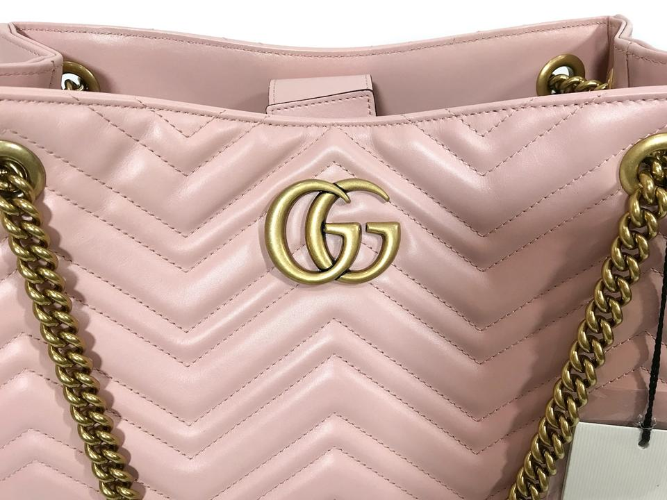 Gucci Marmont 453569 Gg Chevron Pink Leather Shoulder Bag - Tradesy d34d91feba9b3