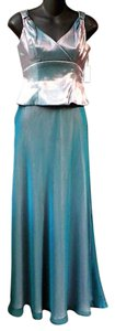 Faviana Metallic Satin Sheer Emerald Dress