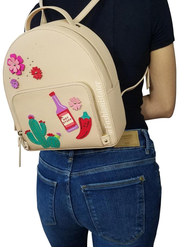 Kate Spade New York Cactus Tomi Horizons Leather Bookbag Cashew Backpack 34 Off Retail
