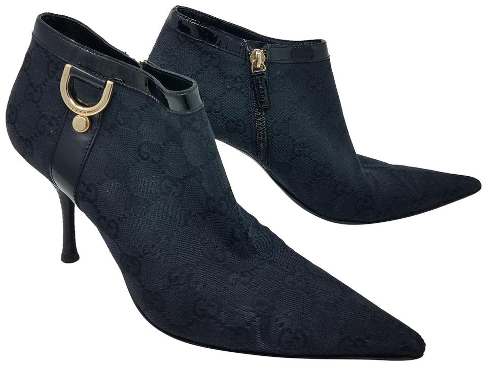 f125a607b4d Gucci Black. Gold Gg Canvas Pointed-toe Ankle Boots/Booties Size EU 38  (Approx. US 8) Regular (M, B) 55% off retail