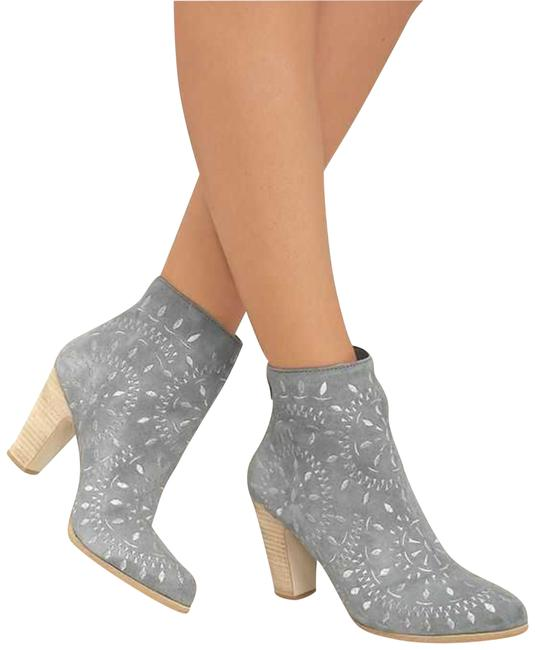 Item - Dusty Blue Embroidered Suede Block-heel Ankle Boots/Booties Size US 8 Regular (M, B)