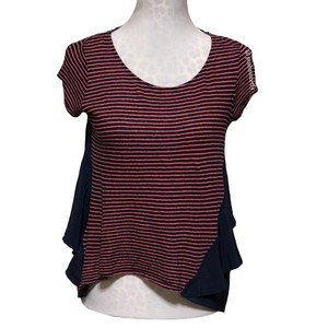 Anthropologie Top Pink Navy Blue
