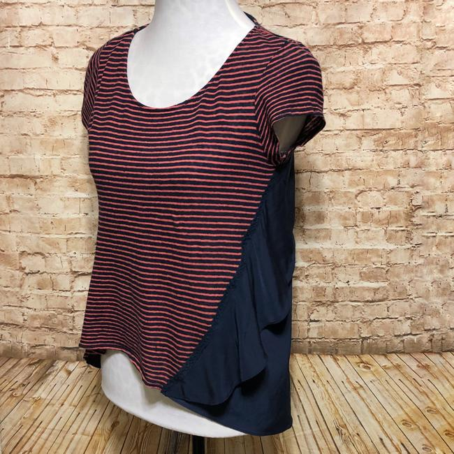 Anthropologie Top Pink Navy Blue Image 2