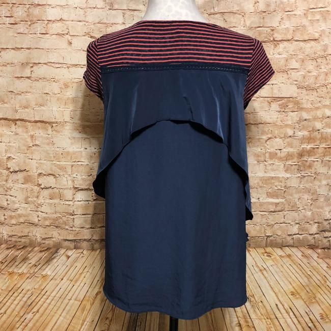 Anthropologie Top Pink Navy Blue Image 3