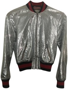 fcfb7c964 Gucci Silver metallic Leather Jacket. Gucci Silver Metallic Bomber Jacket  Size ...