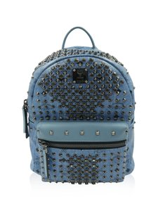 MCM Monogram Leather Studded Leather Monogram Backpack
