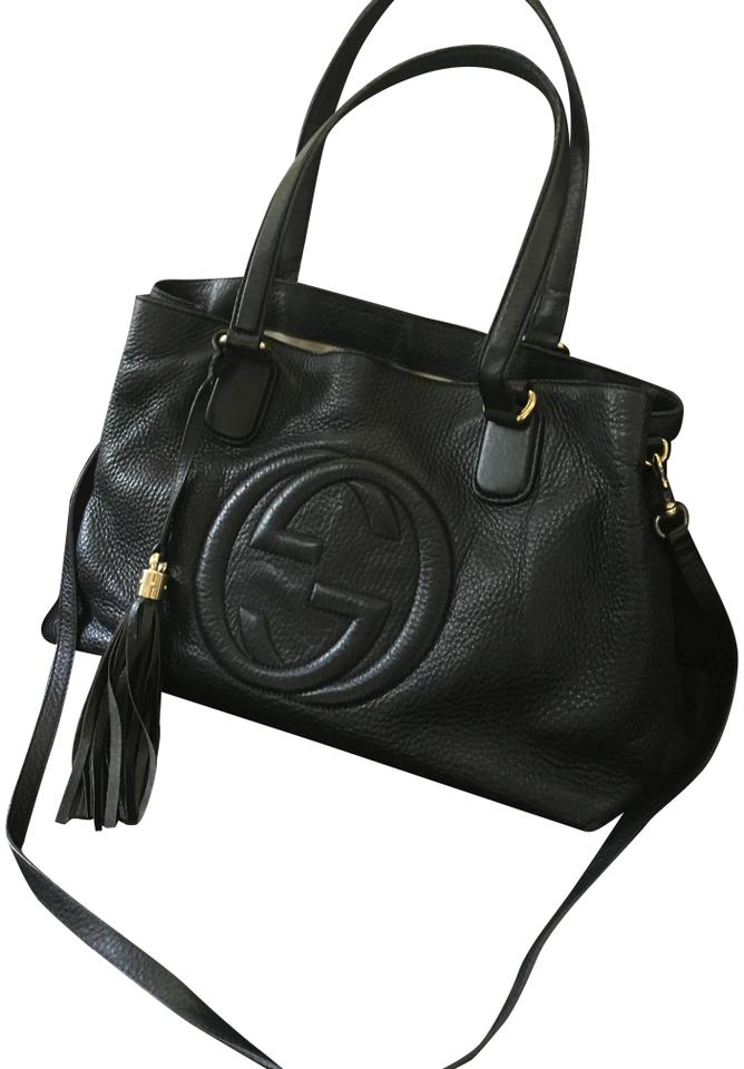af3426a3c484b1 Gucci Soho Grainy Working Two-way Purse Black Leather/Linen Lining ...