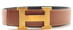 Hermès 32Mm Classic Gold Brushed H Reversible Belt leather Size 65