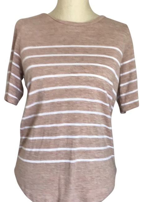 Item - Tan Striped T Tee Shirt Size 8 (M)