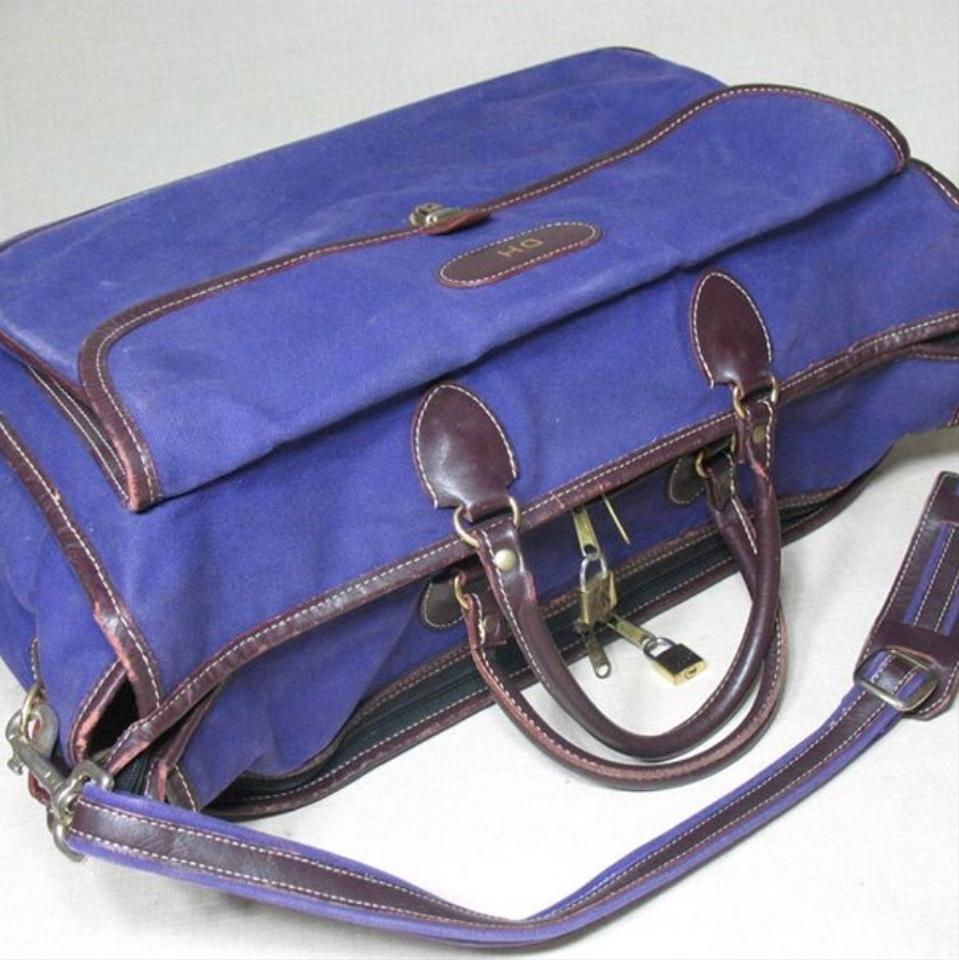 589ed692bb12 T. Anthony Canvas Brown Leather Trim Duffle Carry On Purple Weekend ...