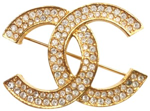 Chanel Chanel Vintage Classic Gold Plated CC Silver Crystal Brooch