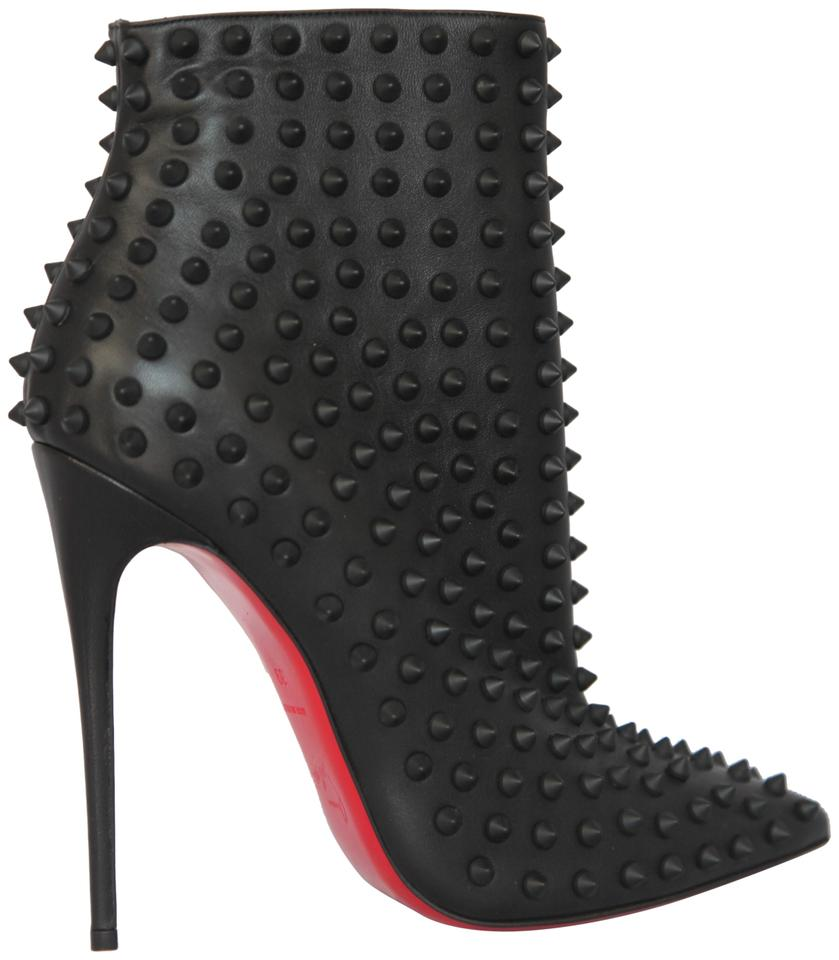 new concept 3dddf acaf6 Christian Louboutin Black New Snakilta Leather Spike Ankle Lady High Heel  Toe Zip Red Sole Italy Boots/Booties Size EU 39 (Approx. US 9) Regular (M,  ...