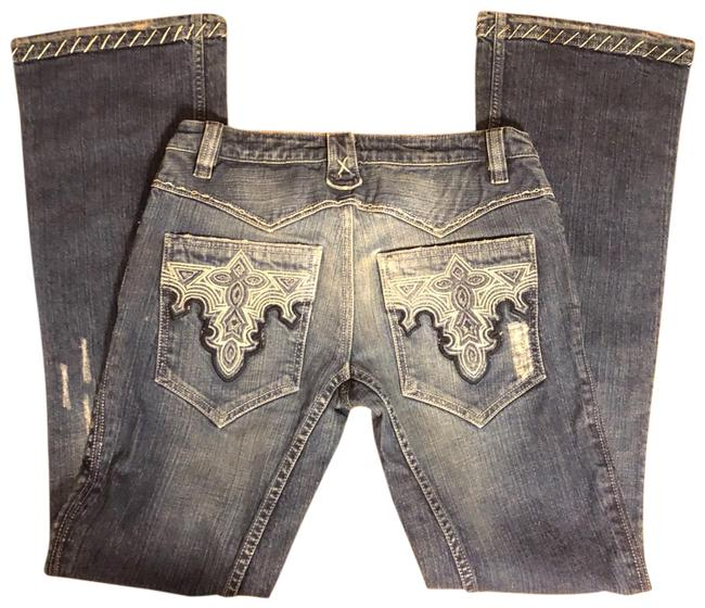 """Item - Distressed Blue Wash Ripped/Distressed with Ornate Stitching and Decorative Pocket Jeans-33"""" Inseam Boot Cut Jeans Size 8 (M, 29, 30)"""