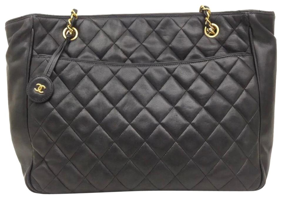 245e18243da052 Chanel Quilted Chain Cc Shopper Tote Vintage Black Lambskin Leather Shoulder  Bag