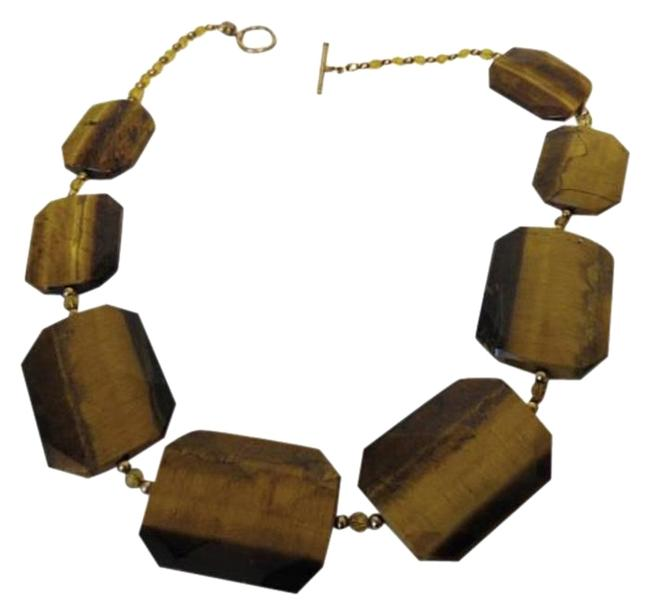"Item - Brown Tiger's Eye Gemstone Toggle 18"" Necklace"