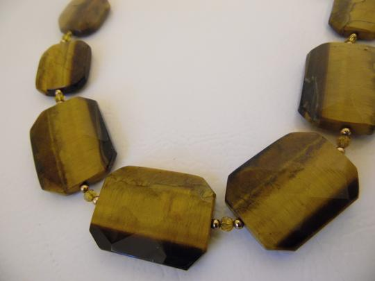 """Colleen Lopez Colleen Lopez Tiger's Eye Gemstone Toggle Necklace 18"""""""
