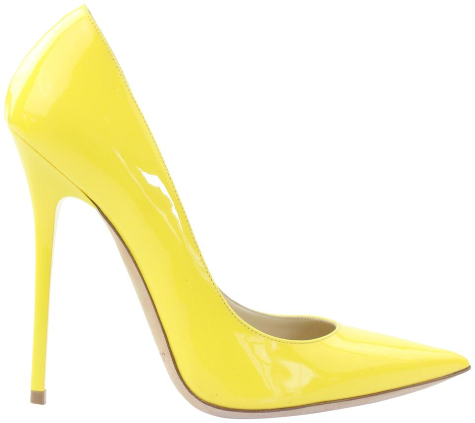 aa6642ee9c45 Jimmy Choo Pointed Toe Crystal Abel Anouk Patent Leather Yellow Pumps Image  0 ...