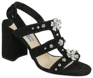 Prada High Heels Party Formal Ankle Strap Black Sandals