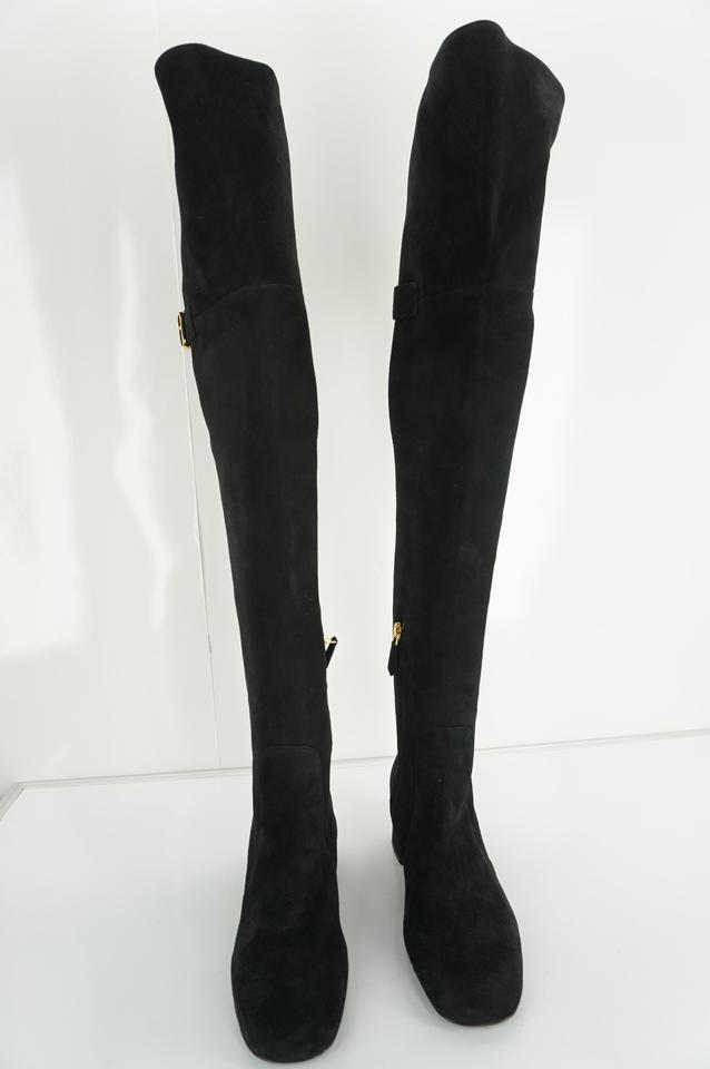 shop best sellers cute cheap latest fashion Prada Black Suede Leather Over The Knee Otk Boots/Booties Size EU 37  (Approx. US 7) Regular (M, B) 68% off retail