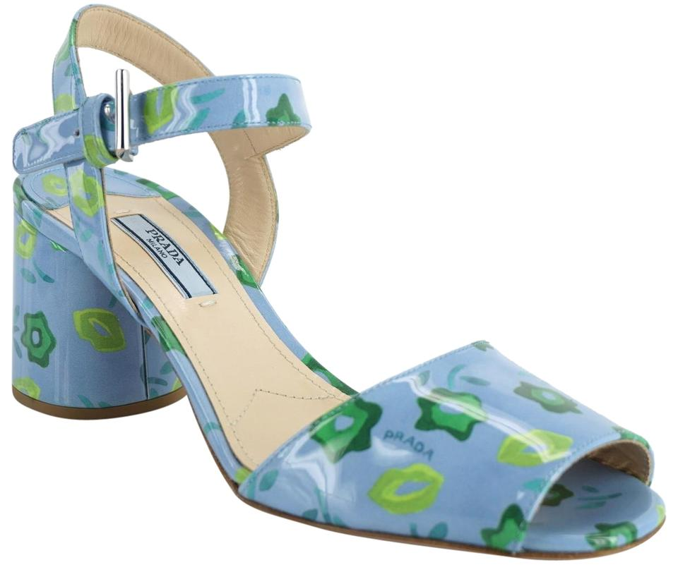 6269dc5100f0 Prada Blue Flower Patent Leather Ankle Strap Sandals Size EU 37.5 ...