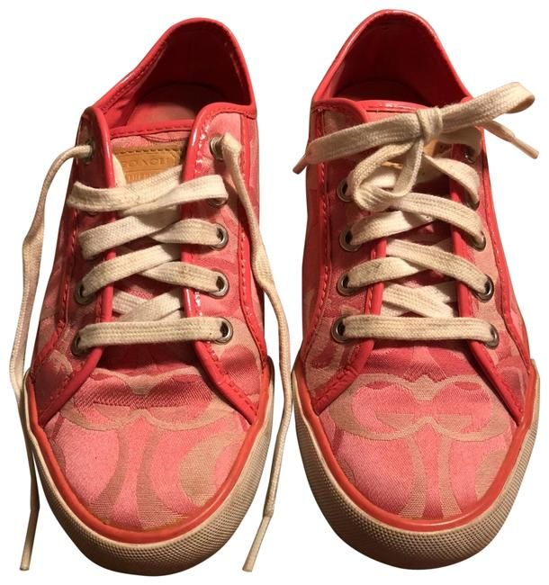 "Item - Pink/Rose/Mauve/White 7.5-coach ""dee"" Multi Signature Logo Fabric Sneakers Size US 7.5 Regular (M, B)"