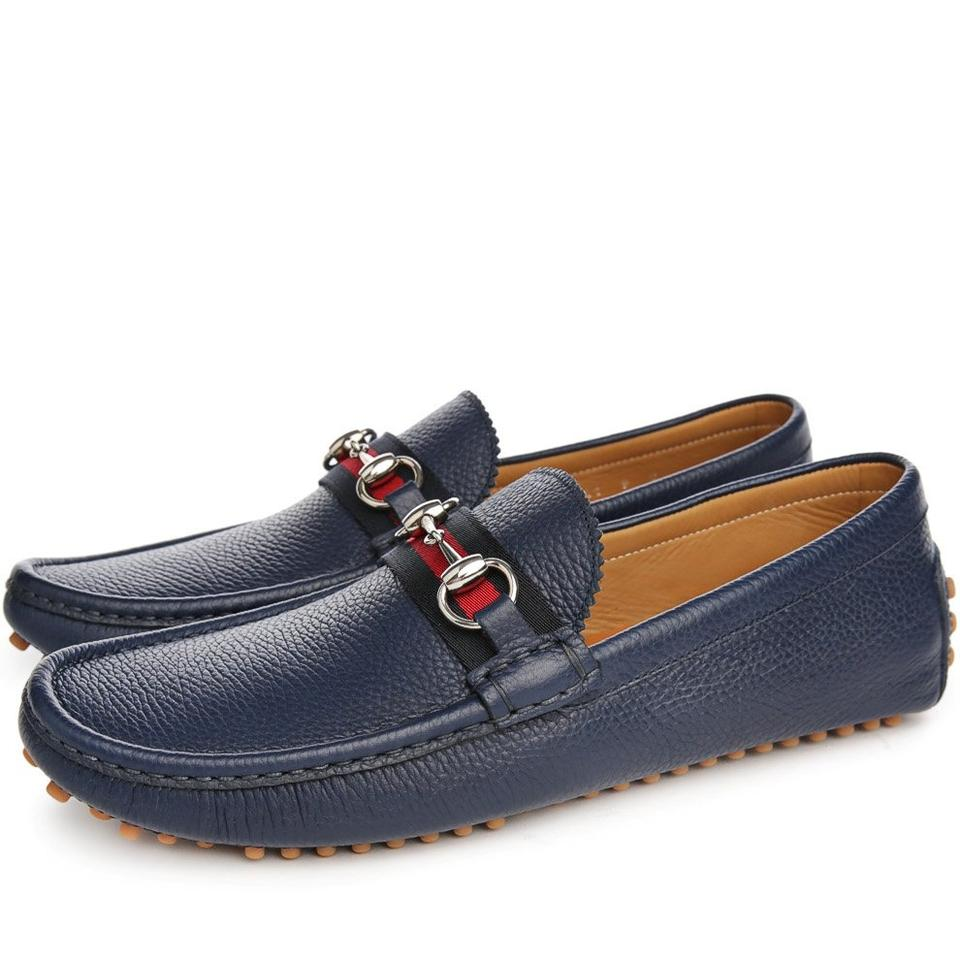 58078a4f6 Gucci Navy Blue Horsebit Web Logo Silver Driver Loafers 7 Us 8 #322741 Shoes  Image ...
